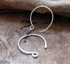 Sterling Silver Hoop Ear wires Hand Forged Ear by NadinArtGlass, $6.00