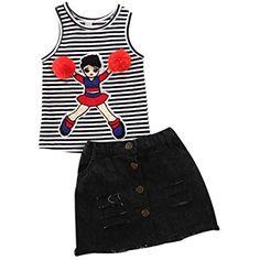 Toddler Kids Girl Denim Skirt Set with Rose Flower Letter Print T-Shirt Tops 2pcs Summer Outfits