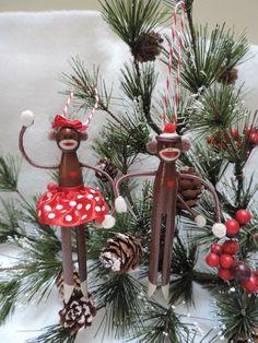 clothespin ornaments | Sock Monkey Clothespin Ornament