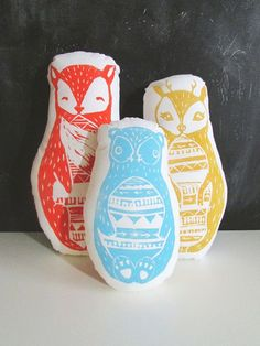 Russian Nesting Dolls. Set of 3 Plush Pillows. Fox, Deer, and Bear. Hand woodblock printed. Pick your colors.