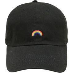 Cápsula de diseño arco iris algodón béisbol papá Cap Black ( 13) ❤ liked  on. Embroidered ... 61129f9fb40a