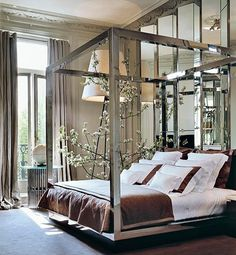 Mirrored bed+beautiful cornices...Paris apartment of Elie Saab