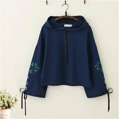 Japanese Bamboo Embroidery Bowknot Sleeves Hoodie Product ID: Material: Cotton Sleeve Length: LongColor: White, Blue, PinkSize Info.One Size: Bust 102 cm, Length 50 cm, Sleeve 60 cm Kawaii Fashion, Cute Fashion, Teen Fashion, Korean Fashion, Fashion Outfits, Cool Outfits, Casual Outfits, Colorful Hoodies, Kawaii Clothes