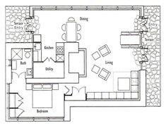 Frank Llloyd Wright's Seth Peterson Cottage Floor Plan. This 880 sq ft cottage was one of Wright's last commissions. Go to website for full info about house, which offers tours.