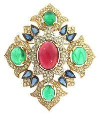 Vintage Philippe TRIFARI Jewels of India JOI Cabochon Rhinestone Brooch Pin
