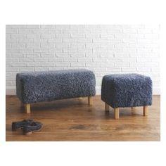 LAMBA Grey sheepskin bench