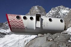 This shelter capsule is set 2,835 metres above sea level on the Frebouze Glacier in the Mont Blanc massif. It is named Bivacco Gervasutti after the Turin-born Alpine climber Giusto Gervasutti, and replaces a modest wooden shelter built in his memory in 1948. Designed and built by Italian architects Luca Gentilcore and Stefano Testa using helicopters to fly in each section, the new 30-square-metre structure includes living and dining areas, and two sleeping quarters that accommodate 12.