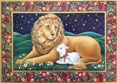 "Lion & Lamb Christmas card by Sunrise. Inside message = ""May peace and happiness be yours at Christmas."""