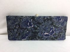 Vintage Waldman Clutch Handbag Jeweled Clasp Satin Lining Blue Black Floral #Waldman #Clutch #Formal