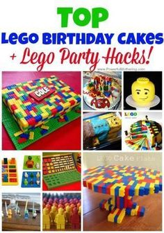 Top Lego Birthday Cakes for Kids + Lego Party Hacks! I love this collection of do-able lego birthday cakes. Each has a how to and can easily be made. Besides lego birthday cakes I also included a few lego hacks for your lego party idea planning! Lego Birthday Party, 6th Birthday Parties, Boy Birthday, Birthday Ideas, Cake Birthday, Party Hacks, Party Ideas, Photo Lego, Deco Lego