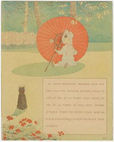 Children's book illustration [Girl with a parasol.] - c. 1900