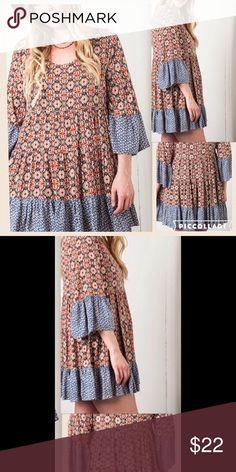 Beautiful Tunic/Mini Dress Bell sleeve mini dress/tunic. 100% rayon.  Brand new. Cleaned. But not worn. Tops Tunics