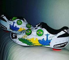 The men's Olympic road race is only 3 days away. Local Murilo Fischer will be sporting these pimped out Gaerne in the hope of some medal glory. Cycling Suit, Cycling Bib Shorts, Cycling Bibs, Cycling Wear, Cycling Shoes, Bmx Shoes, Bike Kit, Riding Gear, Cool Bicycles