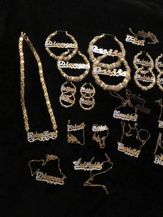 """Gold was always """"ghetto�. Even on the hit show Sex In The City, Carrie referred to her jewelry as """"ghetto gold� while wearing a name plate… Custom Gold Jewelry, Gold Rings Jewelry, Name Jewelry, Luxury Jewelry, Body Jewelry, Jewelery, Gold Earrings, Jewelry Logo, Chandelier Earrings"""