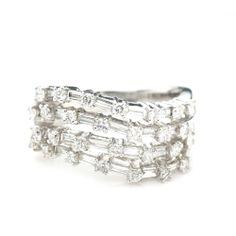14K White Gold 1.0 CTTW Multi Diamond Ring $1000