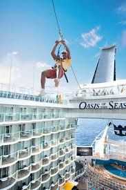 Royal Caribbean's Oasis of the Seas features the first zip line on a cruise ship, a thrilling 82 foot ride (25 meters), in the Sports Zone, suspended nine decks above the Boardwalk. Contact Karen if you would like to give it a try!... Karen@wi.net / 262.492.8747 www.chocolatecitytravel.com