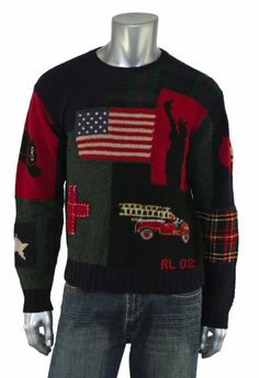 Ralph Lauren Polo Vintage 9/11 Tribute USA Flag Sweater L New