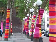 Artificial Light (summer 2011) as part of Seattle Parks & Rec ARTSparks Program by Suzanne Tidwell  I love ya Suzanne! I had the privilege of making and installing a piece for this yarn storm. I covered a light post with an 11 ft piece of handknit fabric.