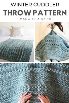 Knitted Afghans, Knitted Throws, Crochet Blanket Patterns, Knitting Patterns Free, Knit Patterns, Free Knitting, Baby Knitting, Knitted Blankets Pattern Free, Loom Knitting