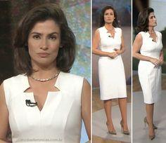 O vestido branco de Renata Vasconcellos no FANTÁSTICO  28 Set