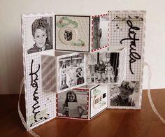 Mini folding Photo Album by SabinaHandmadeShop on Etsy Mini Albums Scrapbook, Scrapbook Cards, Fancy Fold Cards, Folded Cards, Home And Deco, Xmas Cards, Mini Books, Creative Cards, Scrapbooking Layouts