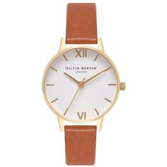 Olivia Burton Midi Dial White Dial Watch - Tan & Gold ($86) ❤ liked on Polyvore featuring jewelry, watches, gold wristwatch, gold jewellery, engraving watches, engravable gold jewelry and white faced watches