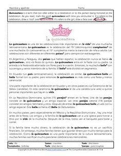 Teach your students about the tradition of the quinceañera. Product is $3 and includes 2-3 day lesson plans that include: -a three level reading suitable for novices and beyond  -comprehension activities for each reading -discussion questions to use throughout -two video-based activities -an additional reading about 'el baile sorpresa' -an authentic reading activity -a communicative, video-based discussion activity -an optional project -detailed lesson plans -answer keys