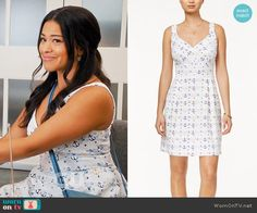Jane's anchor print dress on Jane the Virgin.  Outfit Details: https://wornontv.net/61228/ #JanetheVirgin