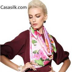 Silk Neck Scarf, Silk Shawl, Saturated Color, Mulberry Silk, Neck Scarves, Square Scarf, Womens Scarves, Pink Flowers, Kimono Top