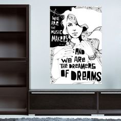 48 Eye-Catching Wall Murals to Buy or DIY via Brit + Co 16. Maker's Mural ($99): Hang this graphic mural in your workspace to be continually inspired by the words of Willy Wonka..
