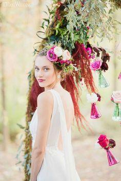 Rustic Elegance Wedding Theme | ElegantWedding.ca Bridal floral crown!