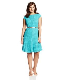 London Times Women's Plus-Size Cap Sleeve Belted Fit and Flare Dress, Turquoise, 14W London Times http://www.amazon.com/dp/B00IRZ0L54/ref=cm_sw_r_pi_dp_SEQXtb0WJWW9407R