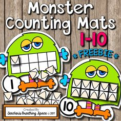 Monster Counting Mats 1-10 with Tens Frames *FREEBIE*! Simply print, laminate and cut out and this adorable math center is ready to use!