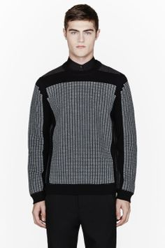 ALEXANDER WANG Black & Grey waffle-embossed sweatshirt
