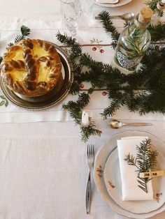 Traditional Christmas bread and table setting