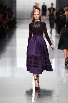 Dior Ready-to-Wear Fall Winter 2012 – Look 39: Aubergine silk sweater and embroidered violet silk skirt. Discover more on www.dior.com