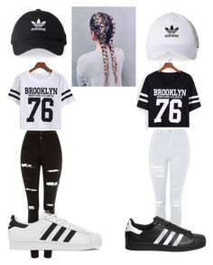 Besties outfit 3 by terule-smejule on Polyvore featuring polyvore fashion style WithChic Topshop adidas clothing
