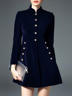 Shop Coats - Dark Blue Simple Buttoned Coat online. Discover unique designers fashion at StyleWe.com.