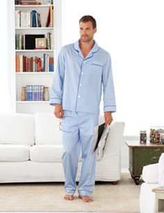1940s MEN'S PAJAMAS PATTERN Mens Long Pajama Pants & Side Button ...