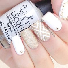 Gold and white nails