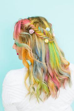 Rainbow Hair Unicorn Pastel style chalk GHD festival hair ideas fishtail plait crown