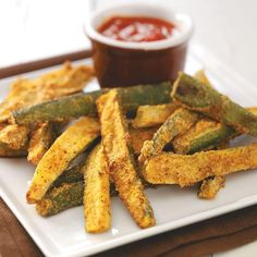 Zucchini Fries for 2 Recipe -I often make these fries for my husband and myself, especially when our garden is full of zucchini. The cornmeal coating gives them a nice crunch. —Sarah Gottschalk, Richmond, Indiana