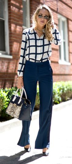 widelegs and windowpanes in navy and white