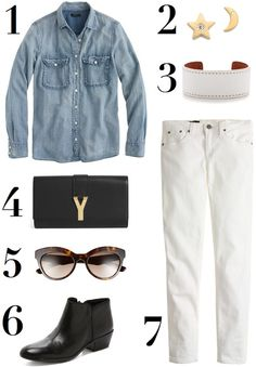 Loose-fitchambray (tucked in in the front), skinny jeans, and ankle booties...pretty much my tomboy uniform. The pieces I'm coveting to finish the look... 1. Chambray Shirt - I have two and I live...