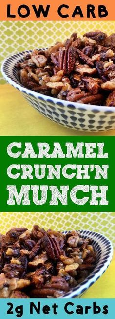 This recipe for low carb keto caramel coconut Crunch'n Munch is a great caramel corn substitute. Instead of popcorn, it's got healthy pecans, walnuts, almonds and coconut flakes. And it's covered in a delicious sugar free caramel coating. It's really good. It's also Ketogenic, Atkins, Banting, THM-S, LCHF, Grain Free Gluten Free and Sugar Free. #resolutioneats #lowcarb #keto #nuts #caramel