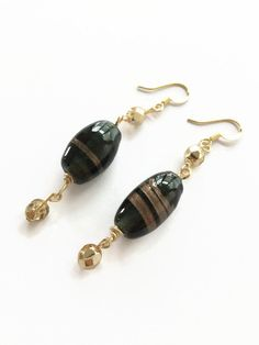 Gold and Black Ceramic Glass Dangle Earrings Beaded Earrings Elegant Black and Gold Dangle Earrings Lamp Work Glass Earrings (E221) by JulemiJewelry on Etsy
