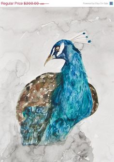 ON SALE Peacock Blue Watercolor Painting Proudly by CreatedByStorm, $150.00