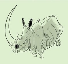 Fred the Rhino and his trusty pal, Samson Alphonso Rupert the Third, the Oxpecker. #rhino #oxpecker #characterdesign