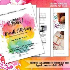 """Brush Lettering worksheets """"Go Big"""" Edition - 3 sizes Upper and Lower Case Alphabet + Drills plus Tips - PDF Digital File Only Bullet Journal How To Start A, Bullet Journal Layout, Brush Lettering Worksheet, Hand Lettering, Mason Jar Crafts, Mason Jar Diy, Calligraphy Practice, Calligraphy Alphabet, Uppercase Alphabet"""