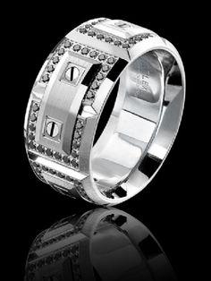 Carlex black diamond luxury white gold ring. WB-9851WWBD-S www.Gembycarati.com www.facebook.com/gembycarati